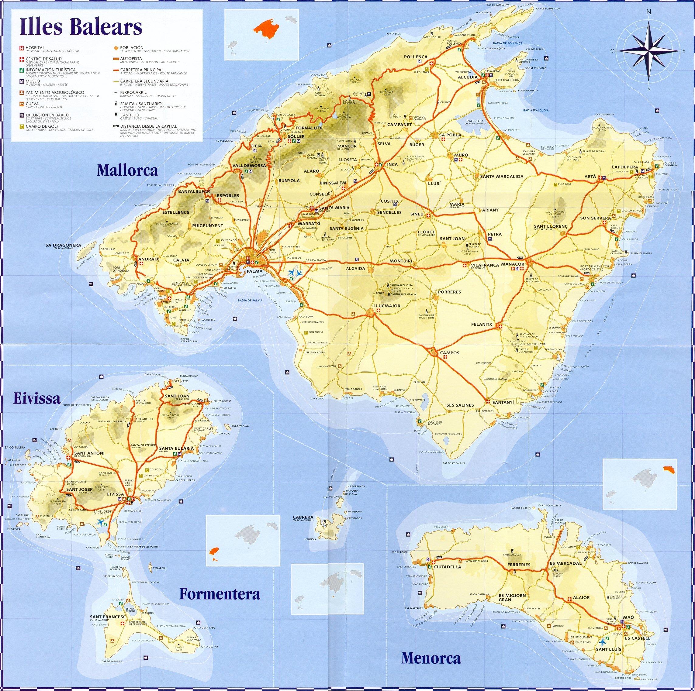 Mapa Islas Baleares, España