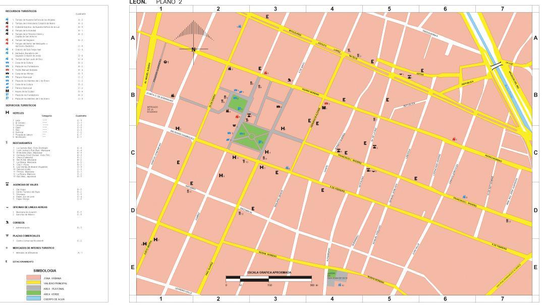 León Map (2), Guanajuato, Mexico