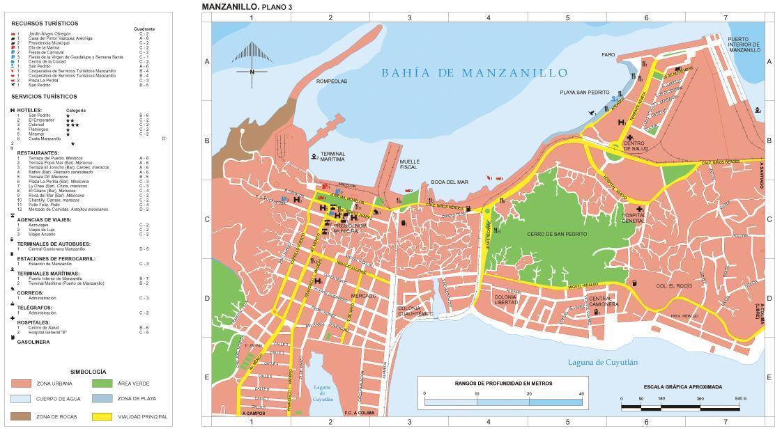Manzanillo (Downtown) Map, Colima, Mexico