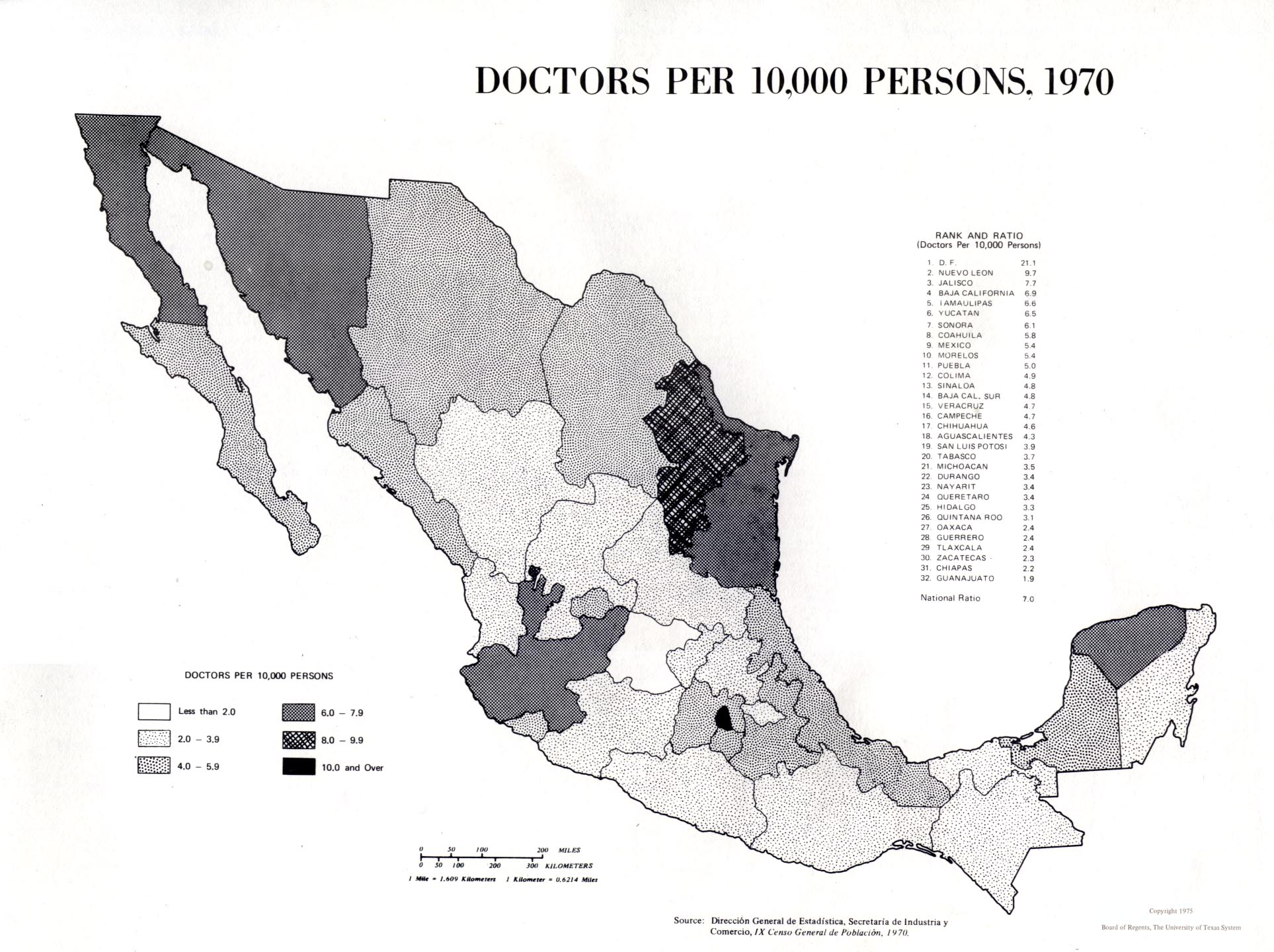 Doctors per 10,000 Persons Map, Mexico