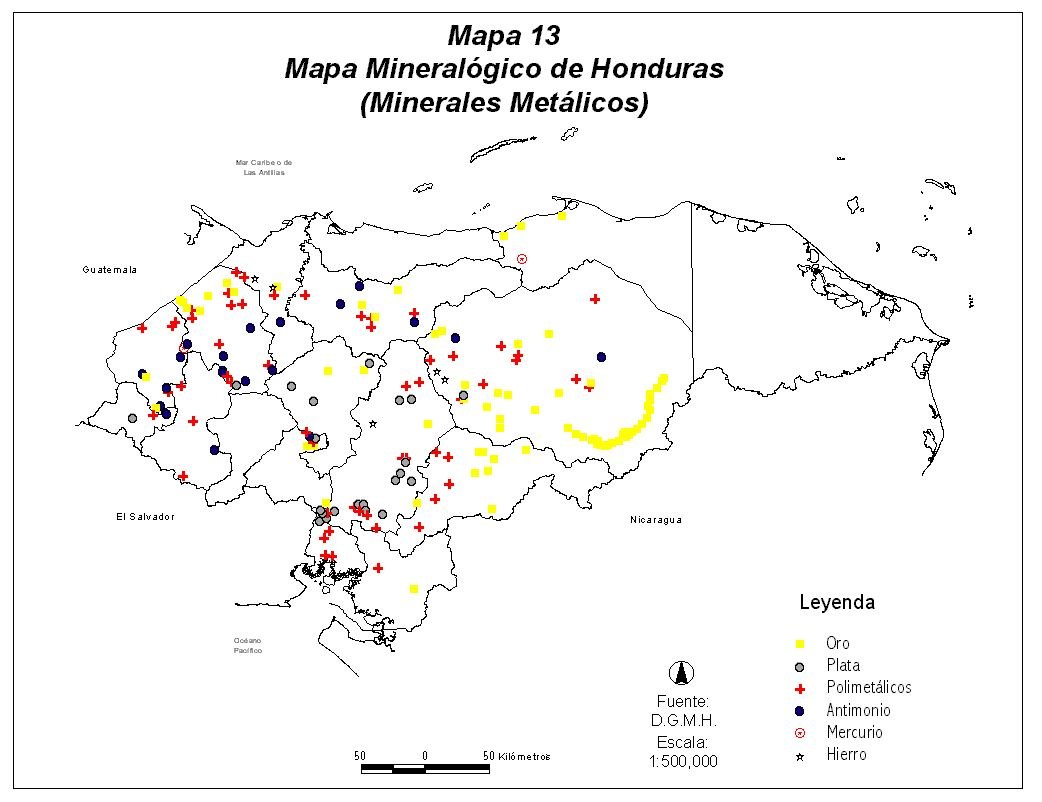 Honduras Mineral Map (Metallic)
