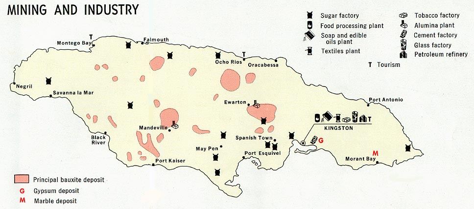 Jamaica Mining and Industry Map