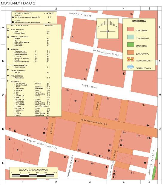 Monterrey (Downtown) Map, Nuevo León, Mexico