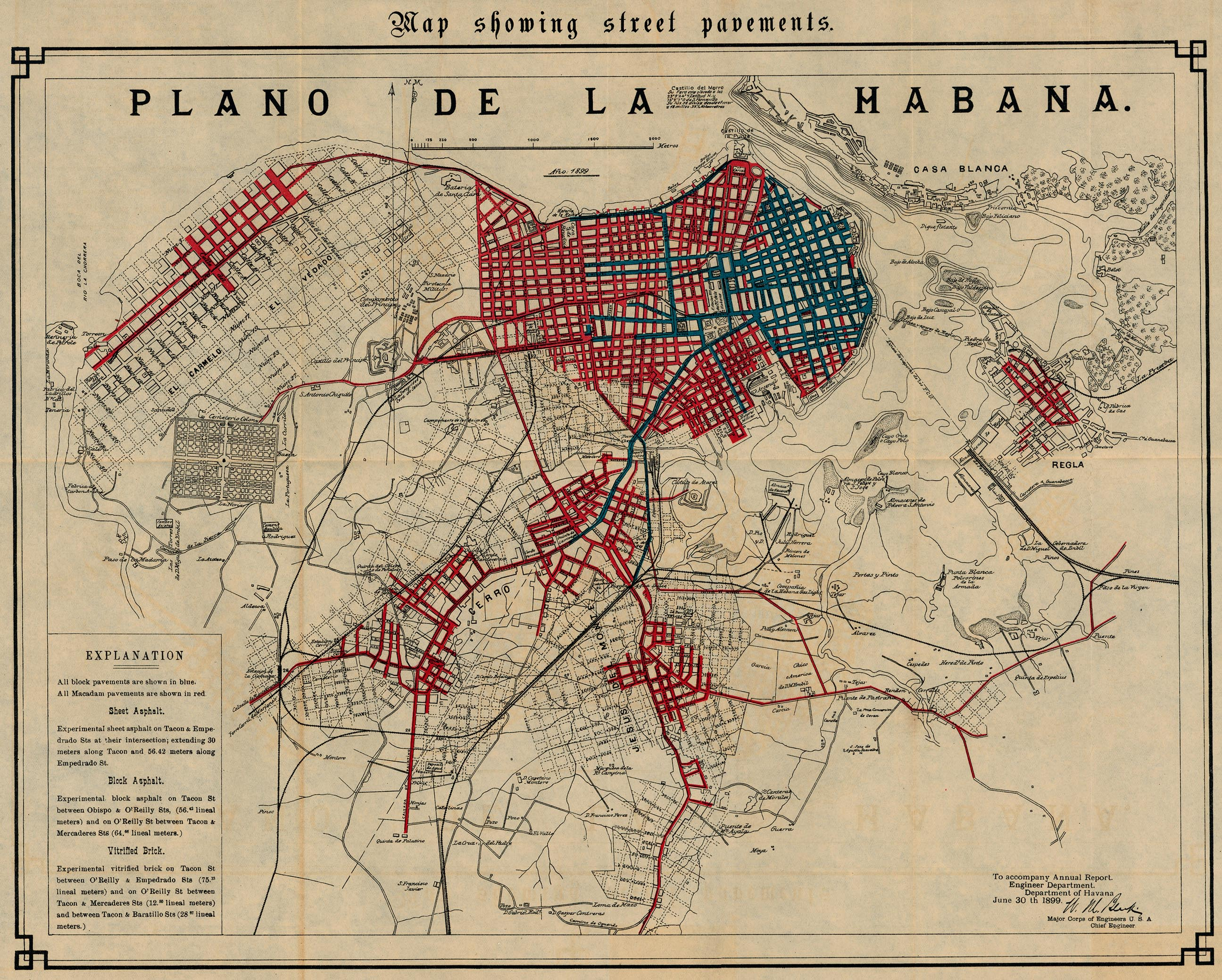 Havana Map Showing Street Pavements, Cuba 1899