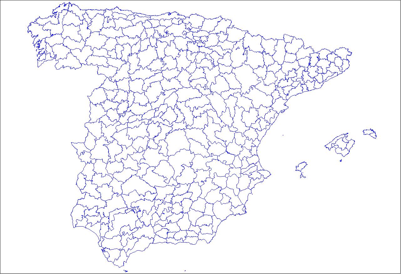 Spain blank comarcas map