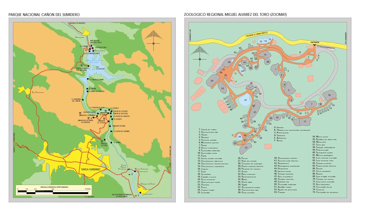 Mapa Parque Nacional Cañón del Sumidero, Chiapas, Mexico