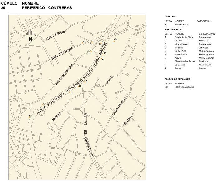 Mapa Periférico-Contreras, Mexico D.F.