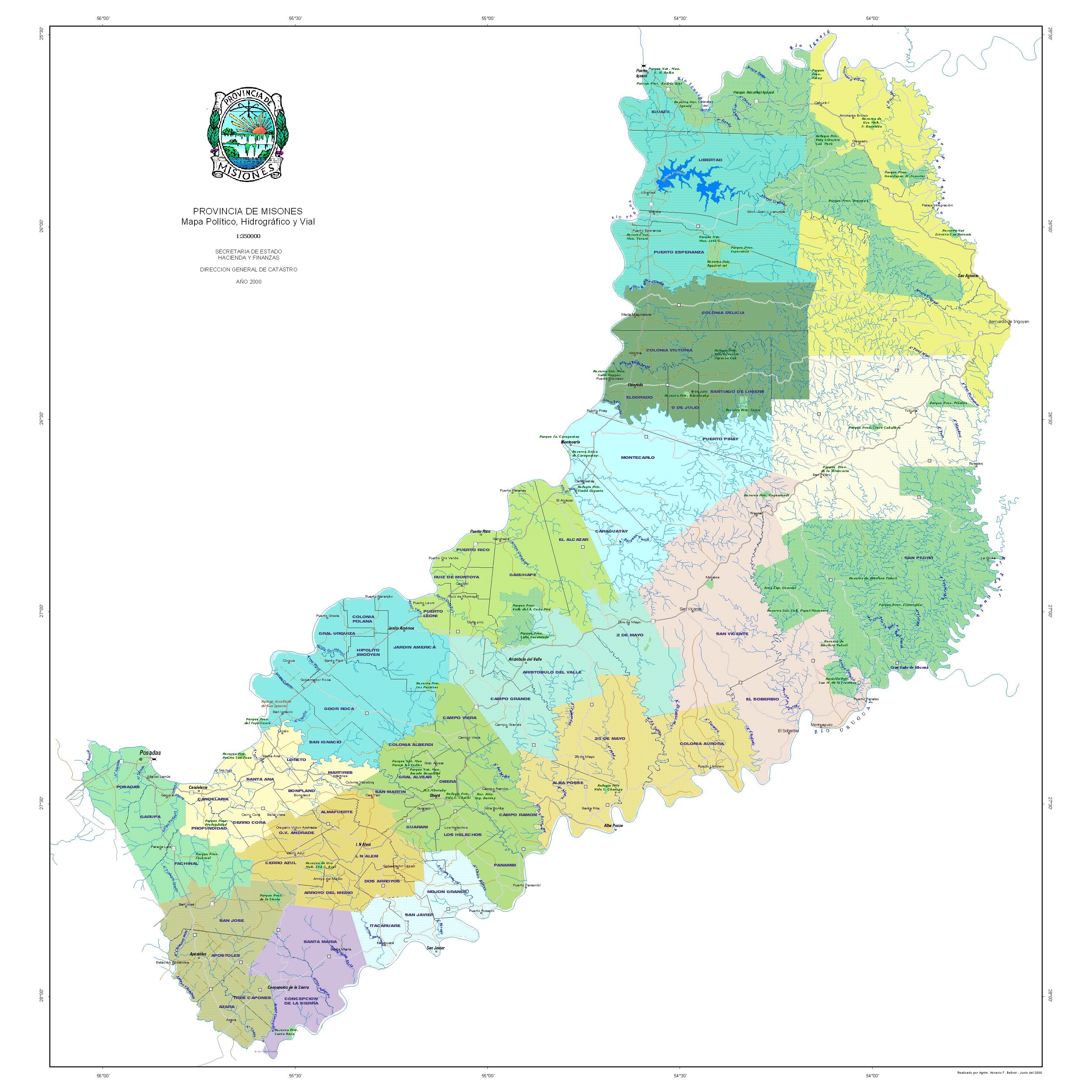 Mapa Politico, Vial e Hidrografico, Provincia Misiones, Argentina
