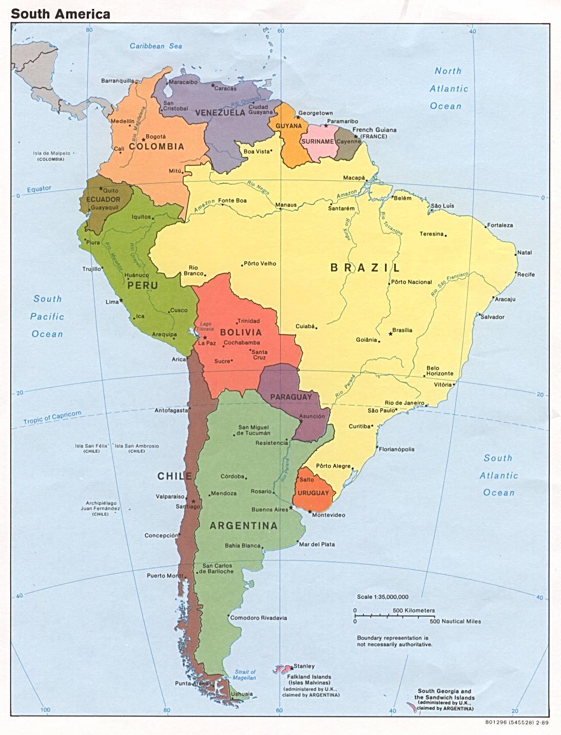 Mapa Político de América del Sur 1989