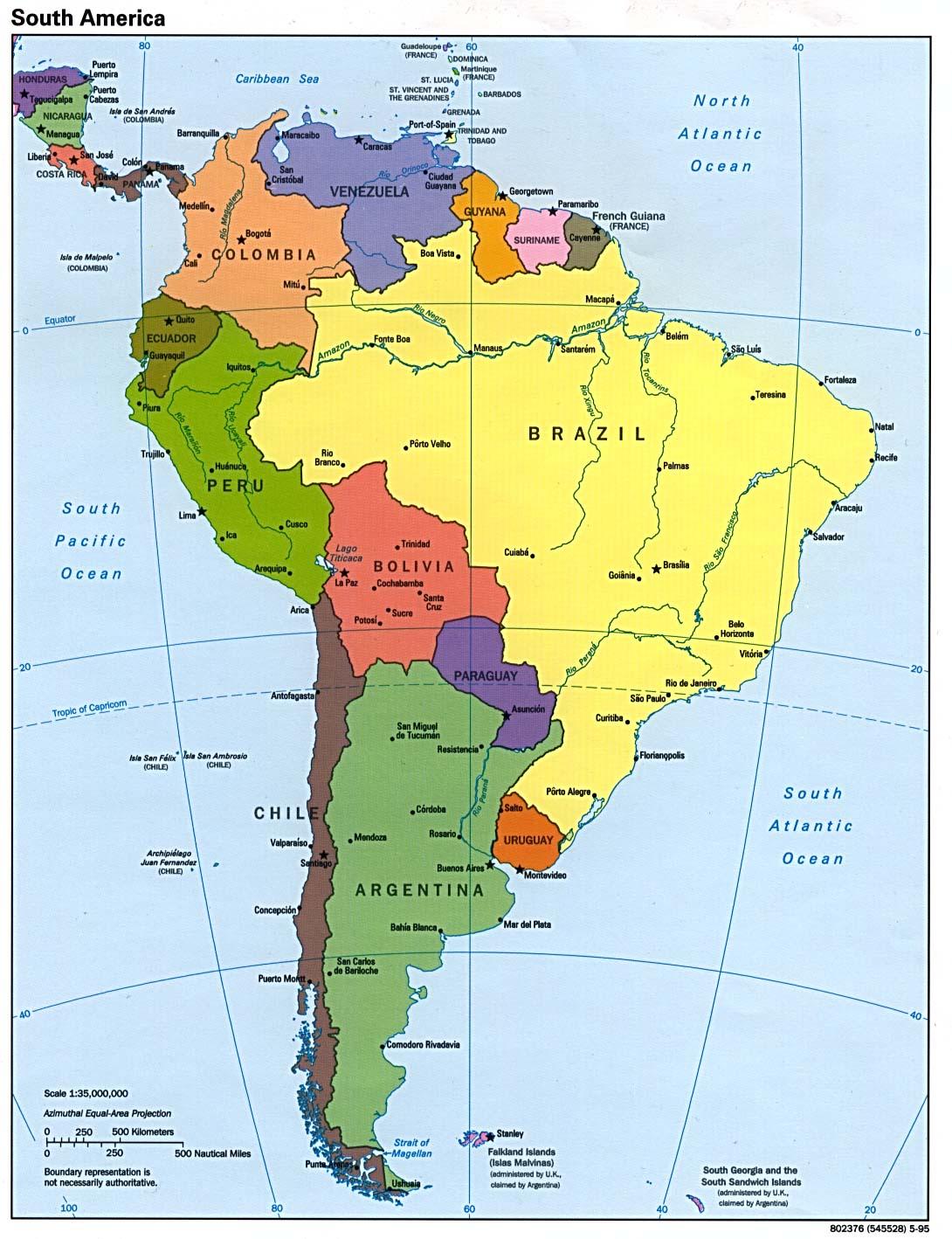 Mapa Político de América del Sur 1995