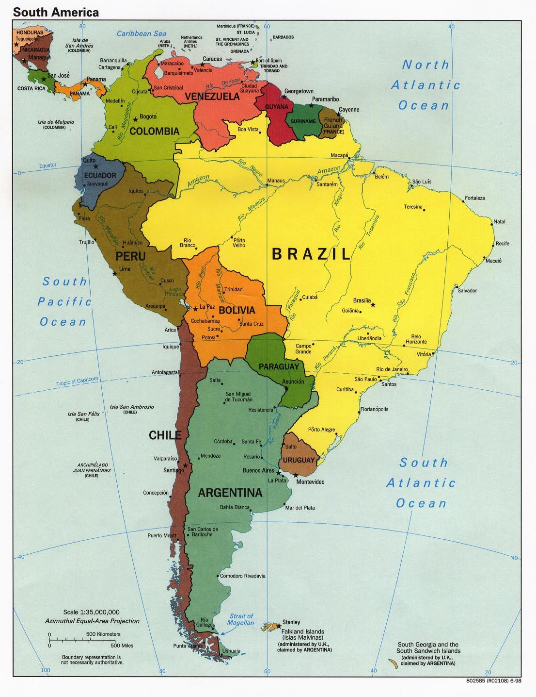 Mapa Político de América del Sur 1998