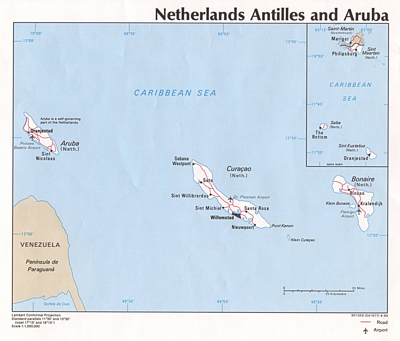 Netherlands Antilles, Aruba Political Map
