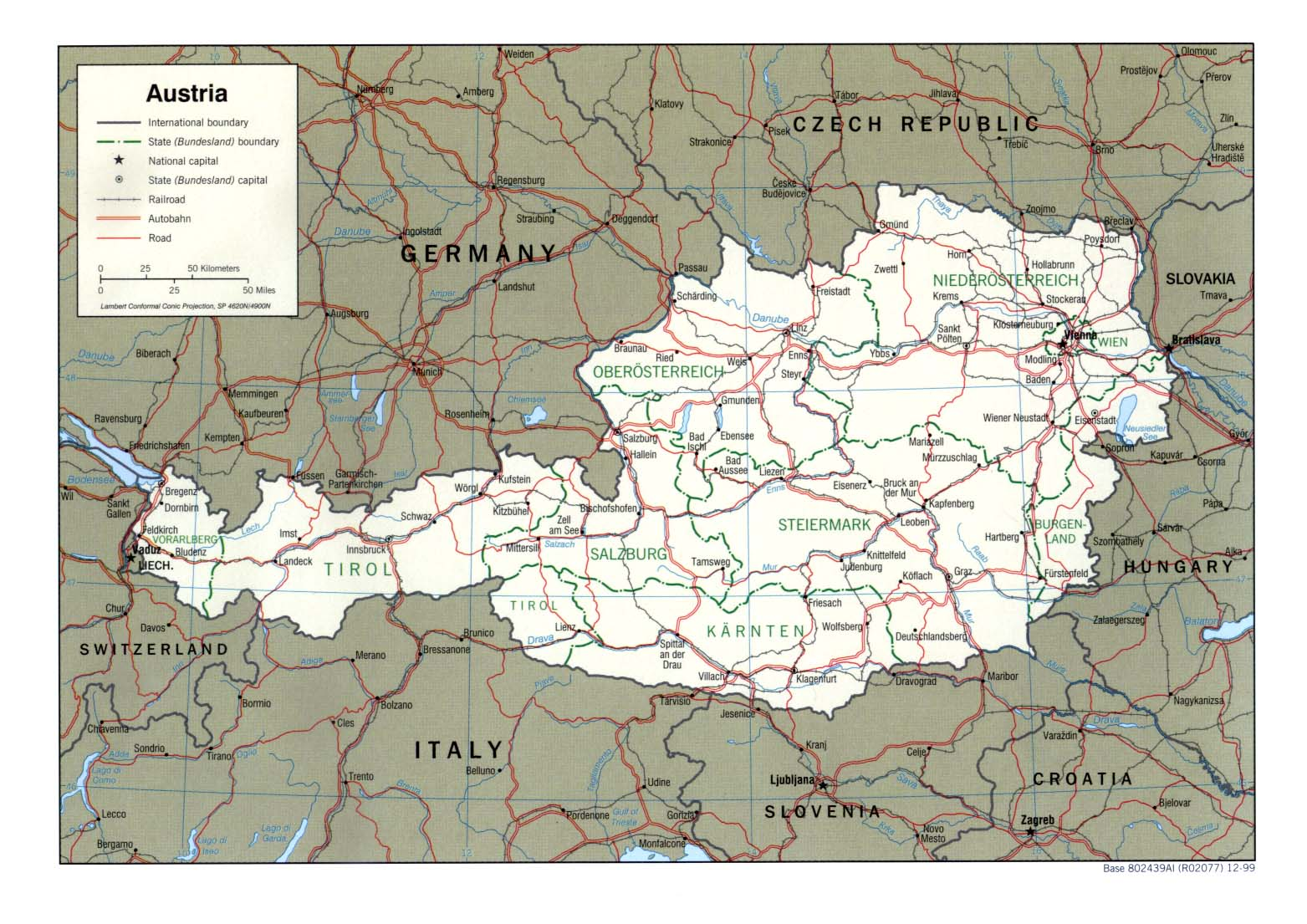 Mapa Politico de Austria
