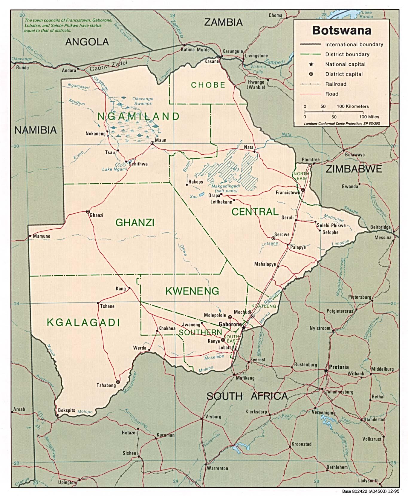 Mapa Politico de Botsuana