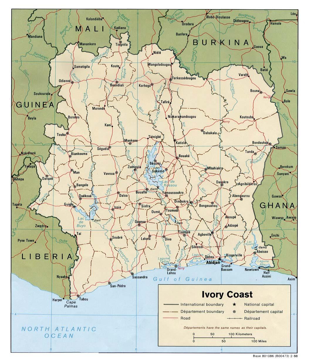 Mapa Politico de Côte d'Ivoire