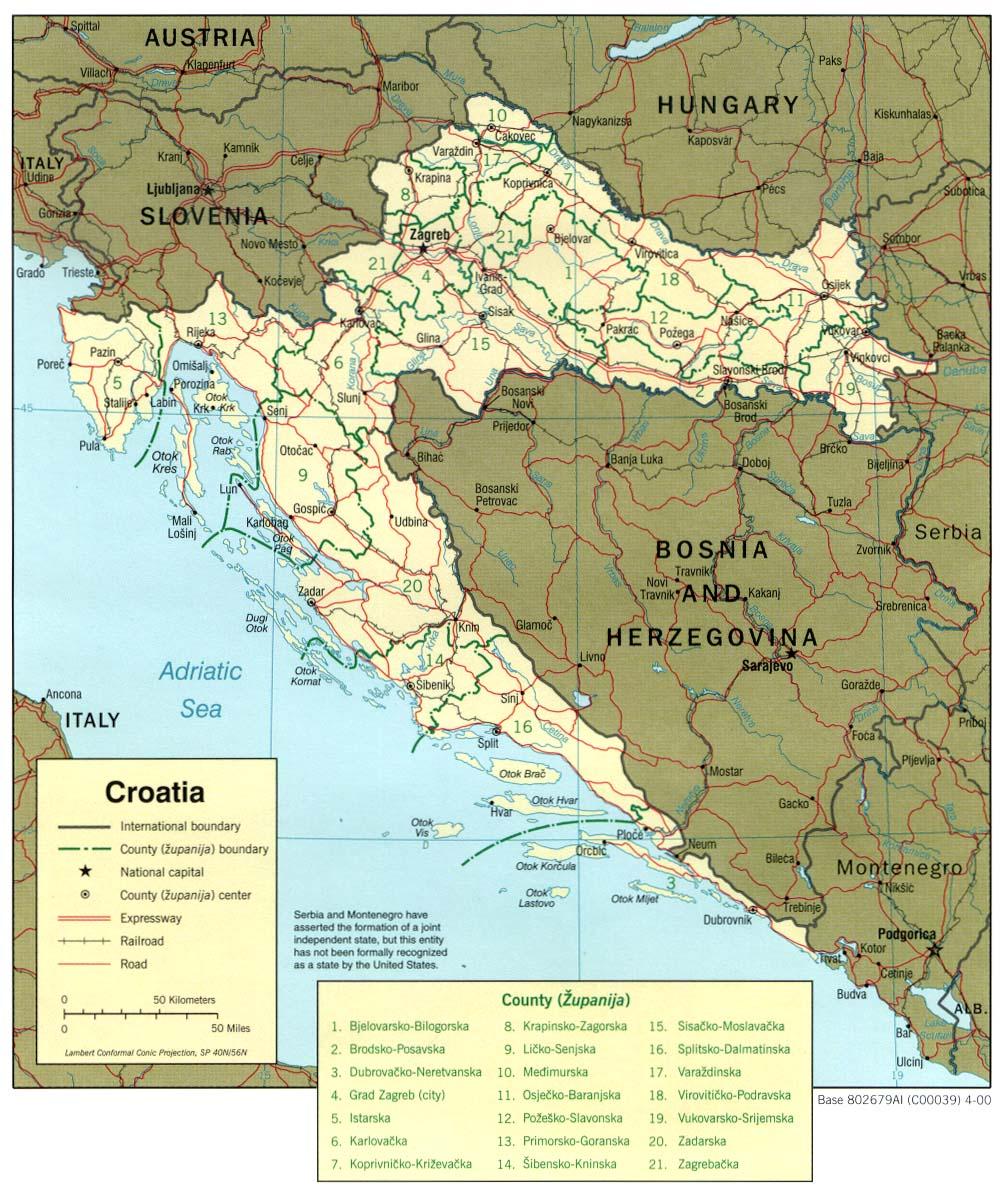 Mapa Politico de Croacia