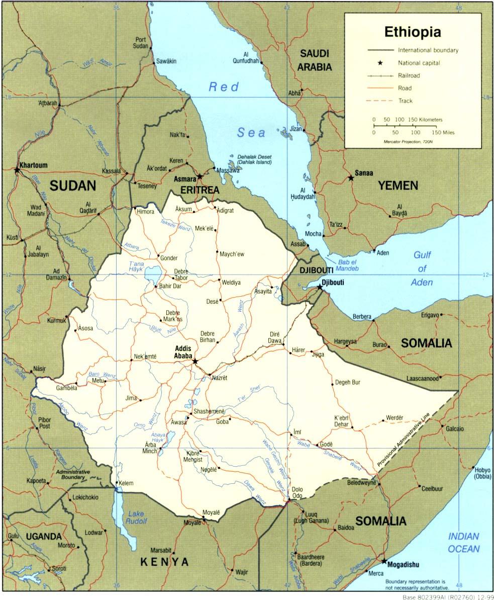 Mapa Politico de Etiopía
