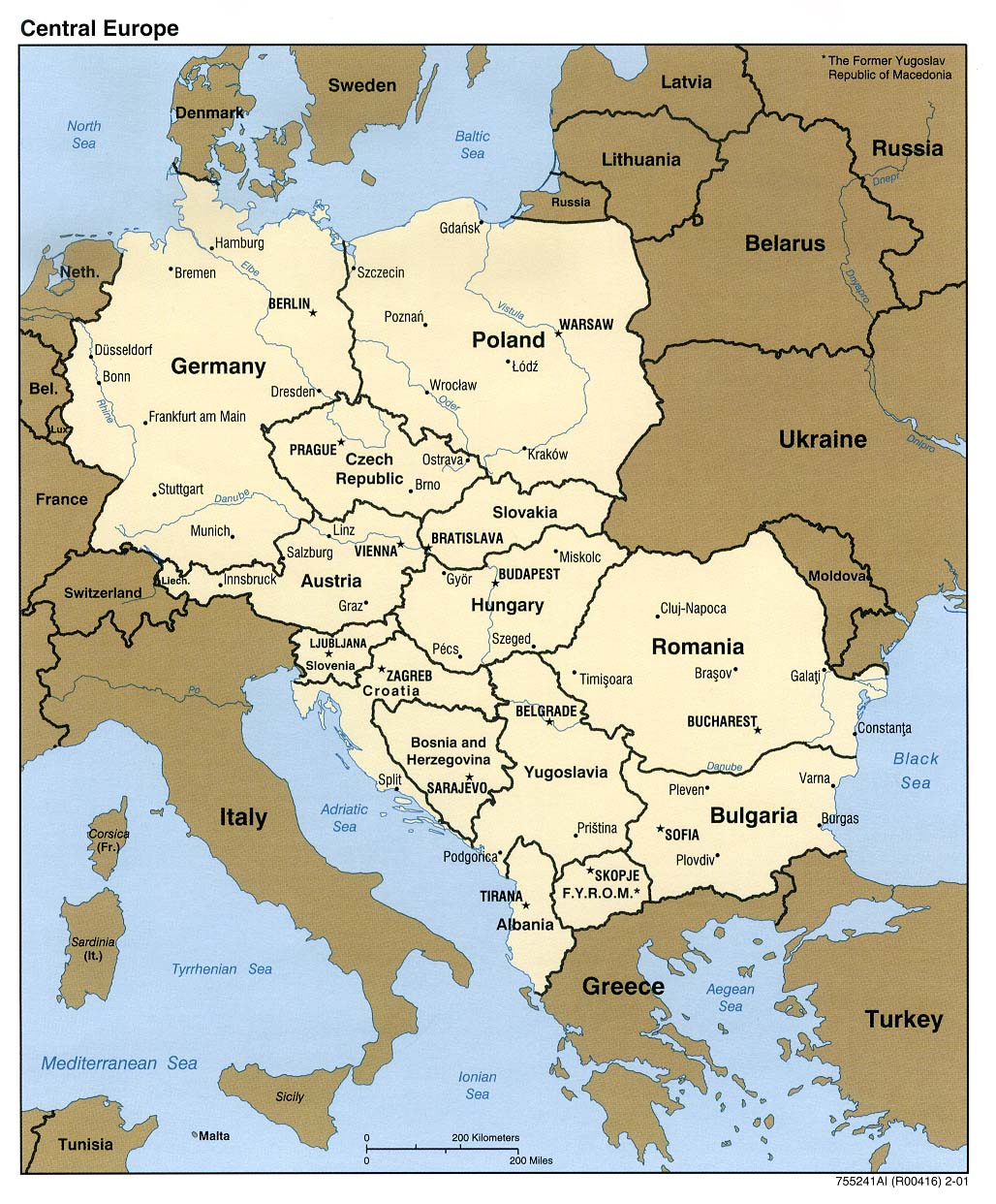 Mapa Politico de Europa Central 2001