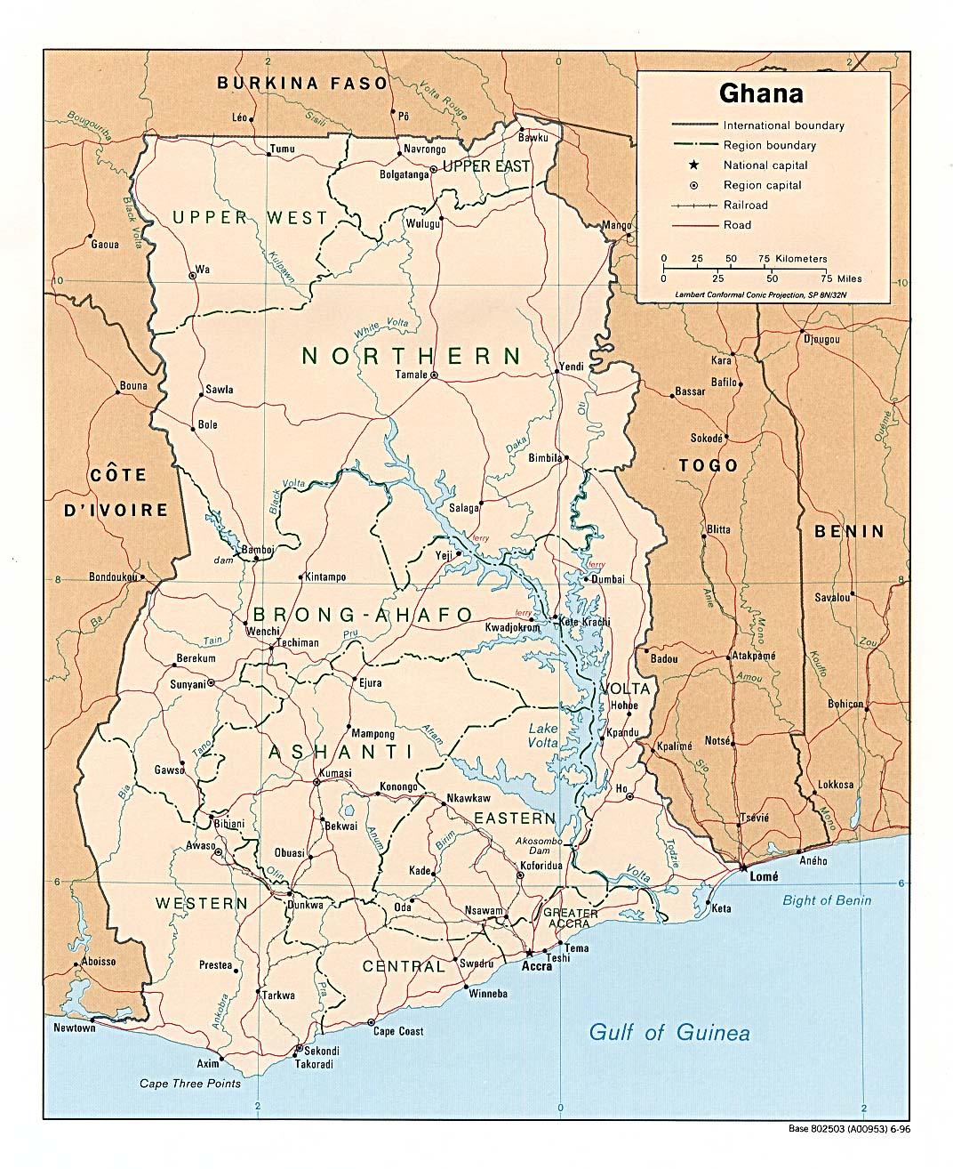 Mapa Politico de Ghana