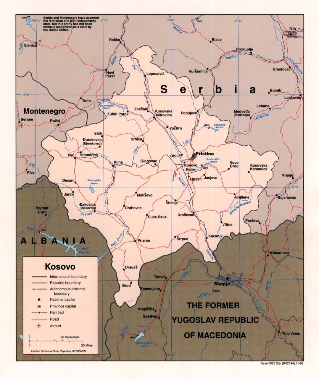 Mapa Politico de Kosovo