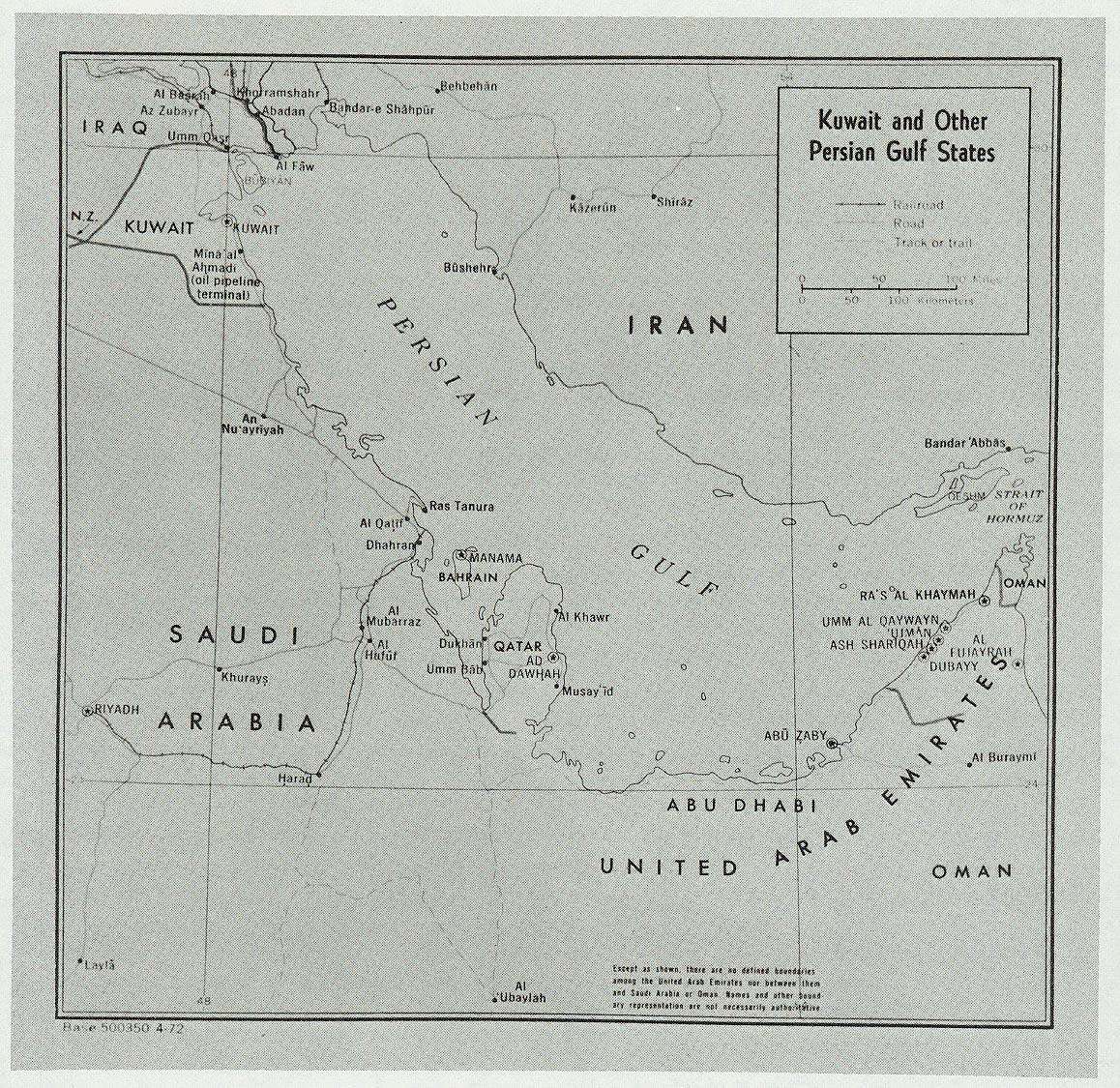 Mapa Politico de Kuwait y Otros Estados del Golfo Pérsico