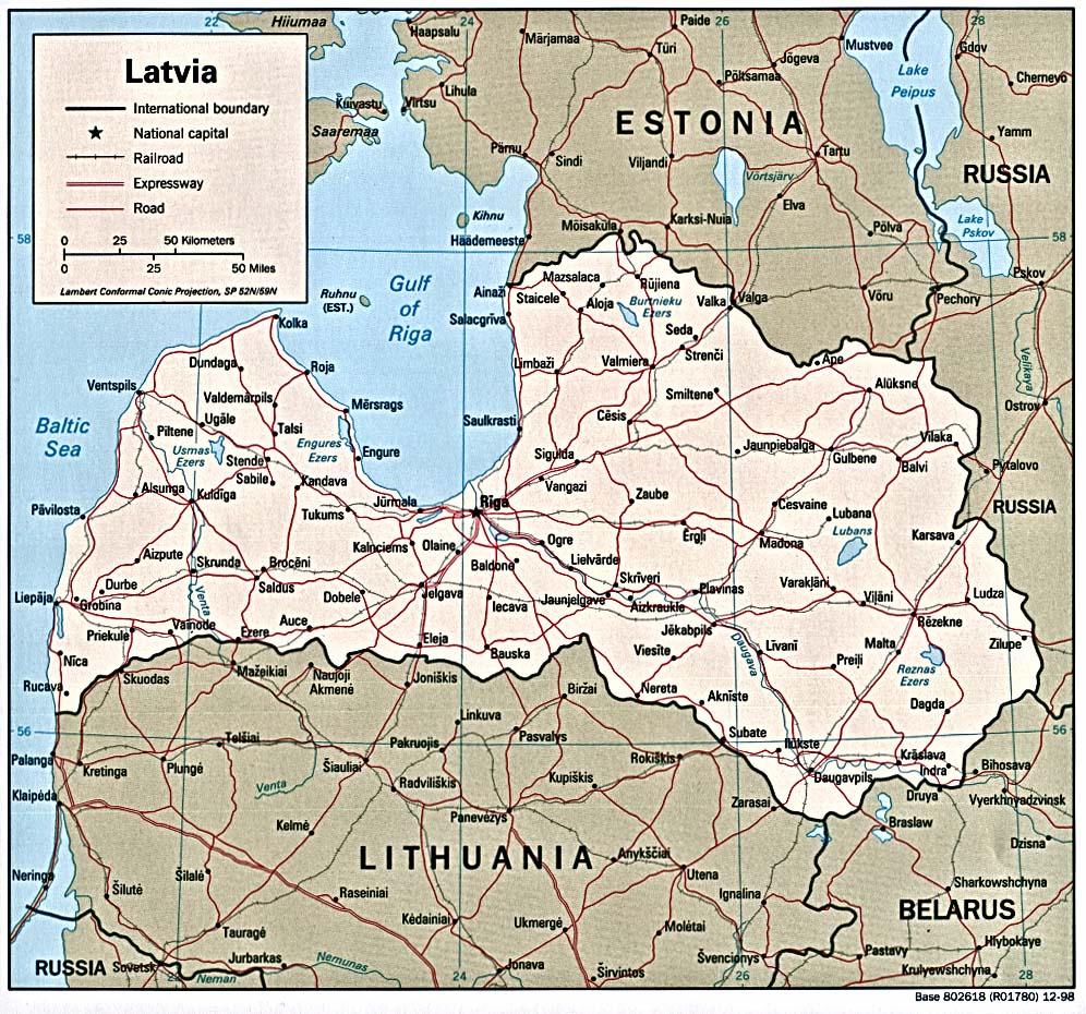 Mapa Politico de Letonia