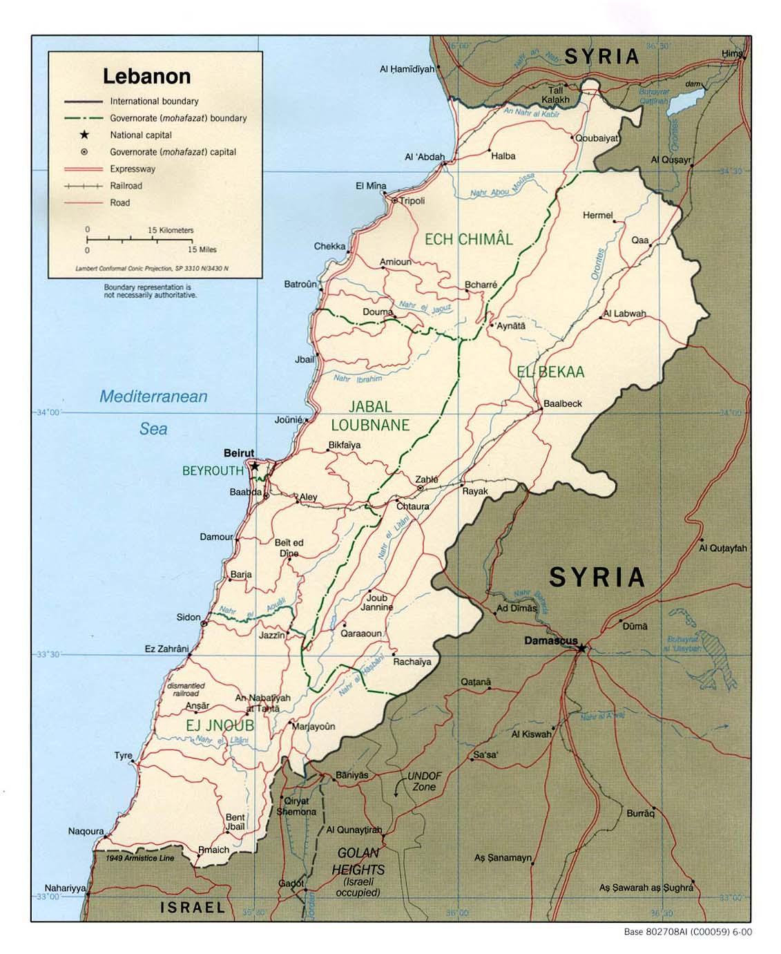 Mapa Politico de Líbano