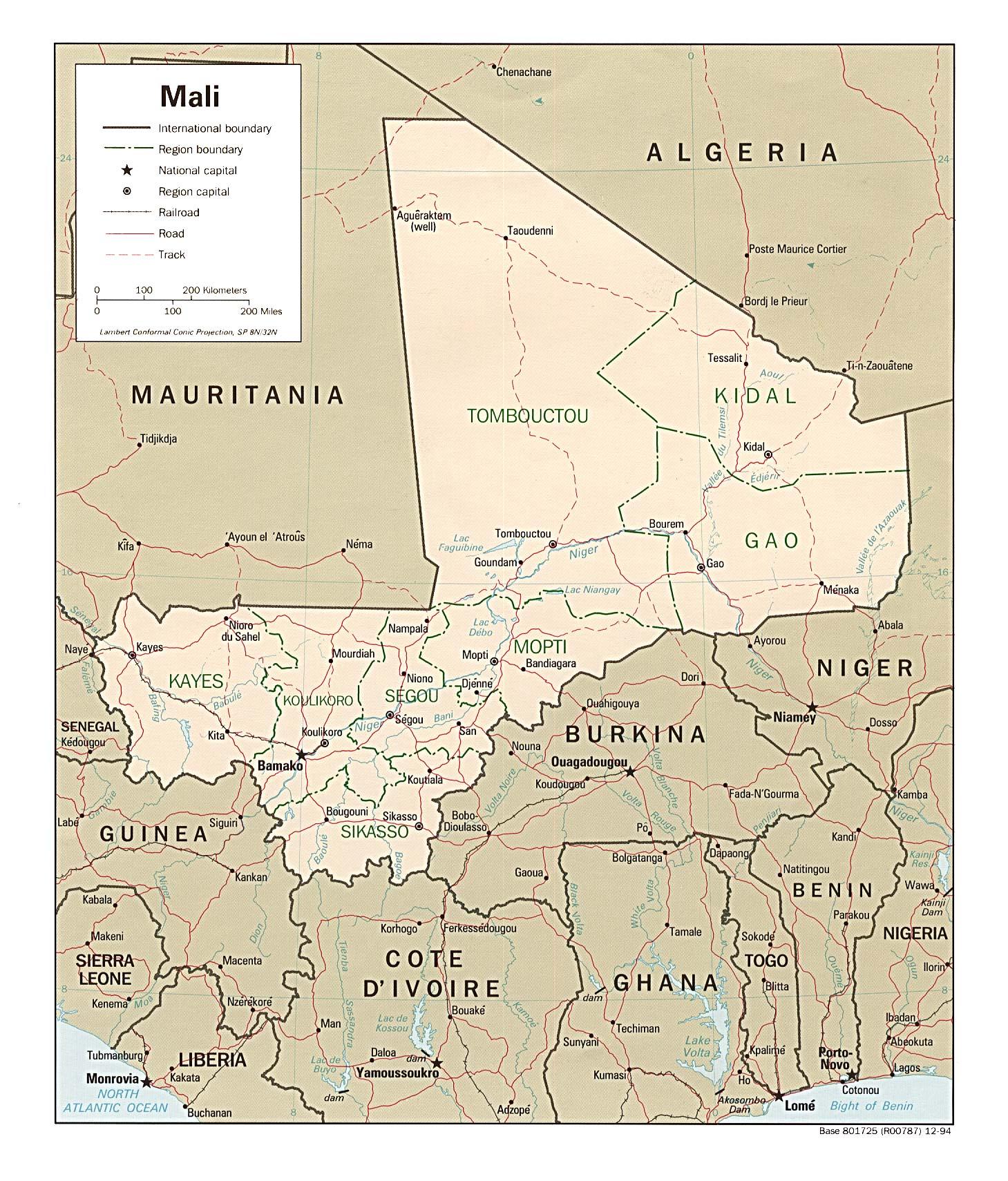 Mapa Politico de Malí