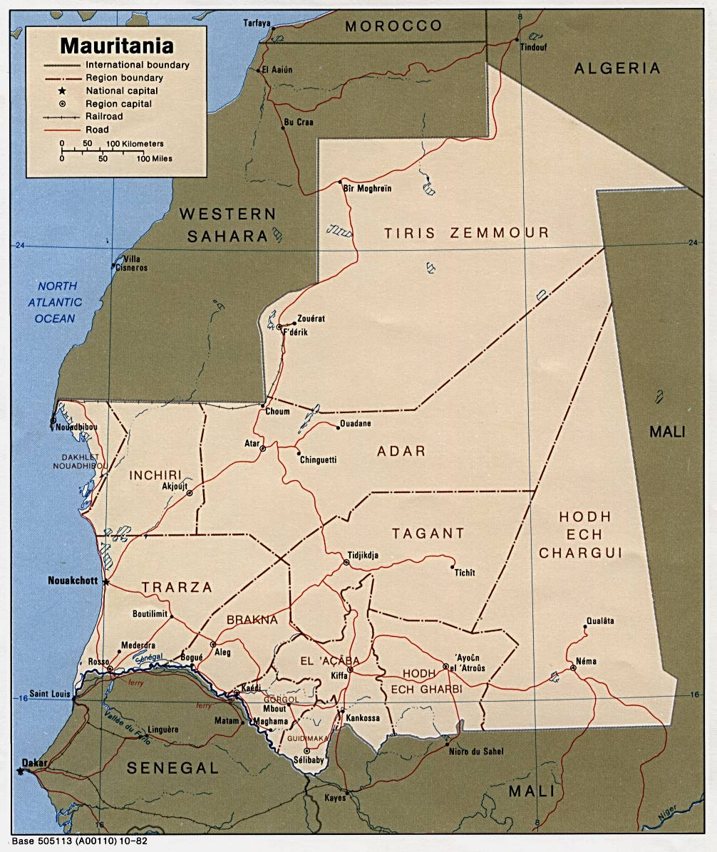 Mapa Politico de Mauritania
