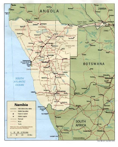 Mapa Politico de Namibia