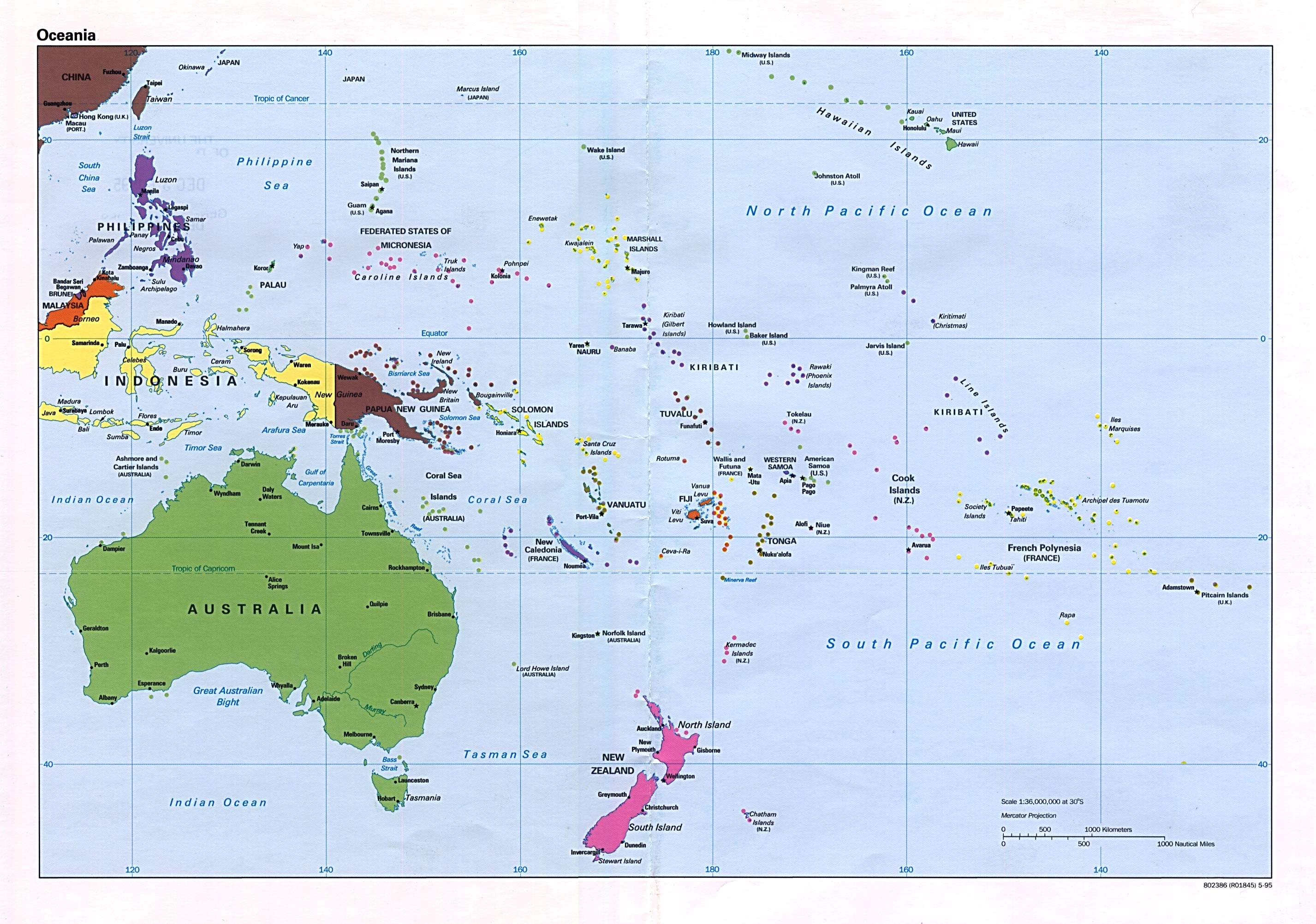 Oceania political map 1995