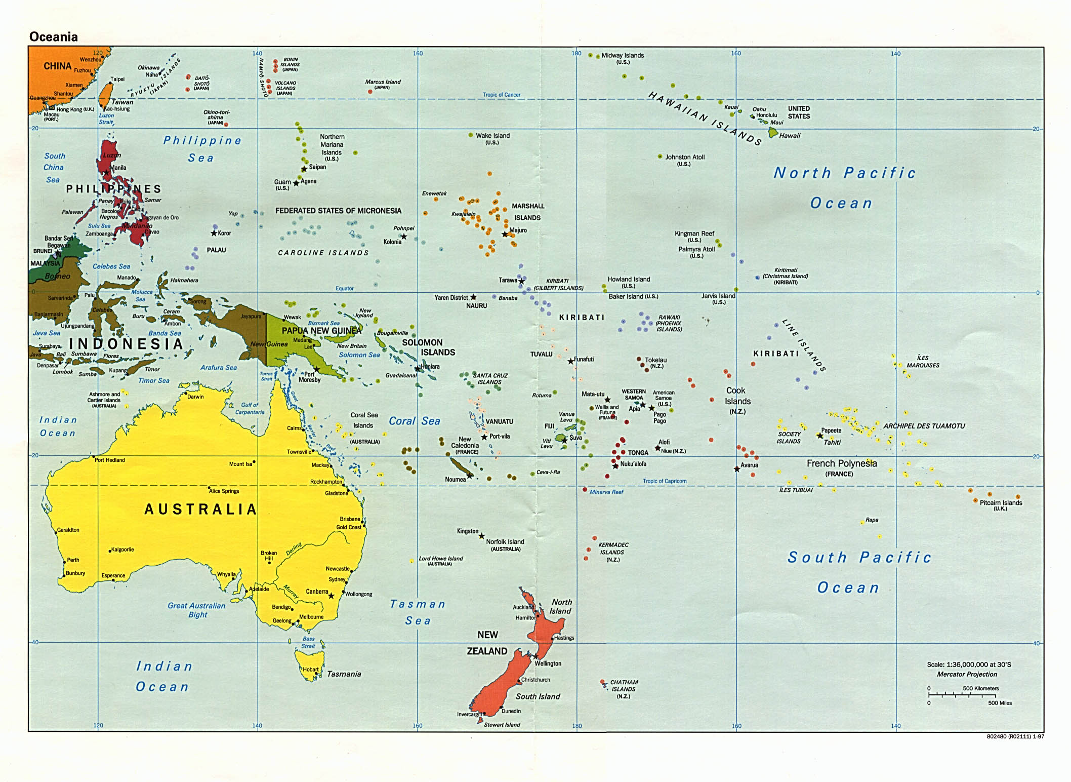 Oceania political map 1997