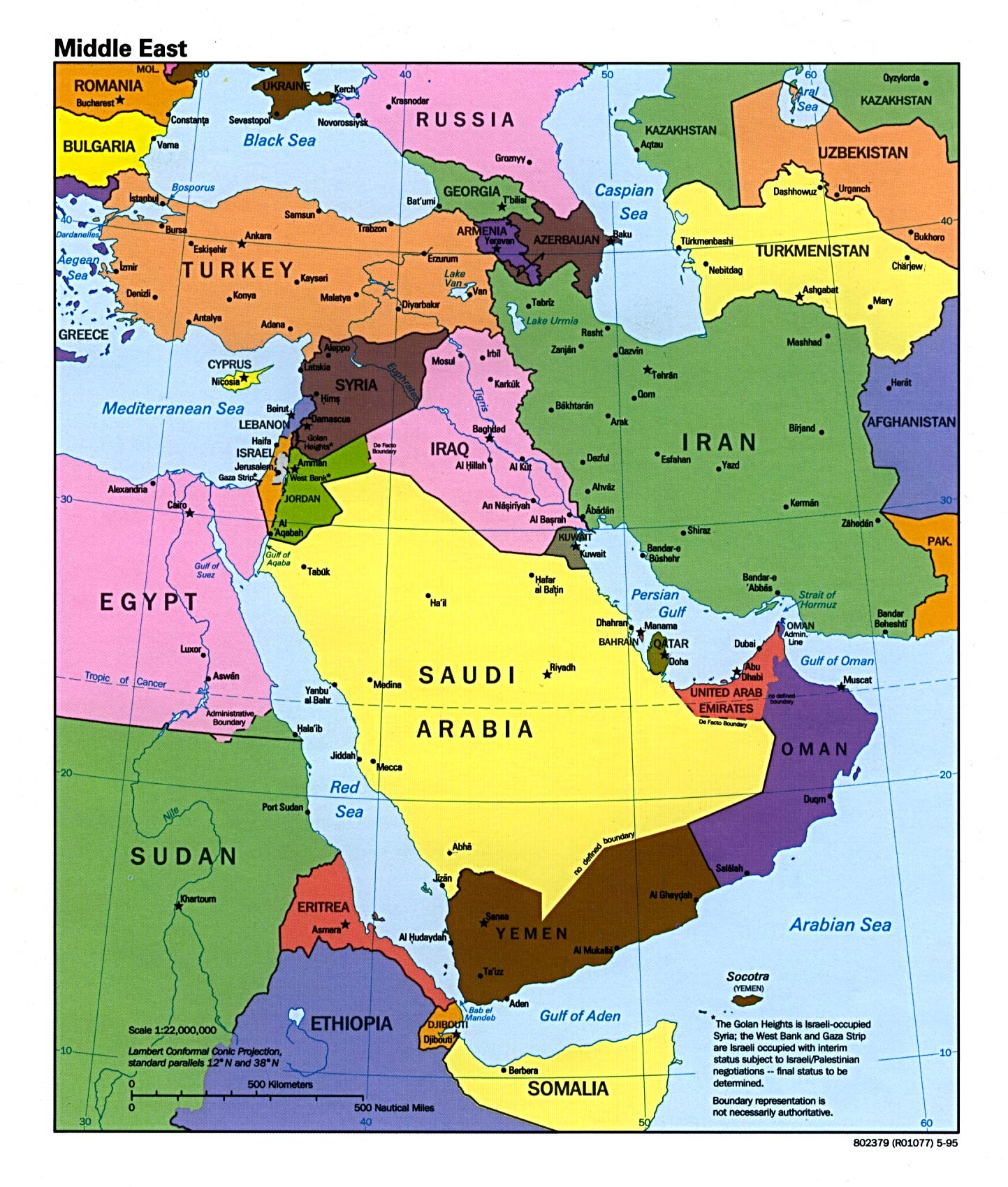 Middle East Political Map 1995