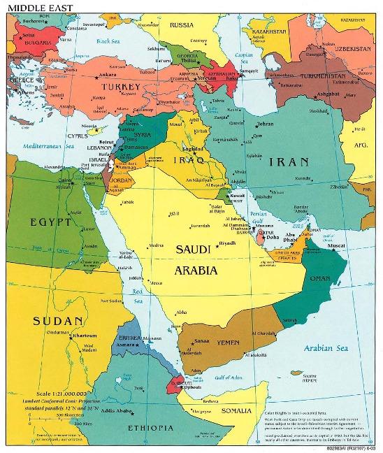 Mapa Politico de Oriente Medio 2003