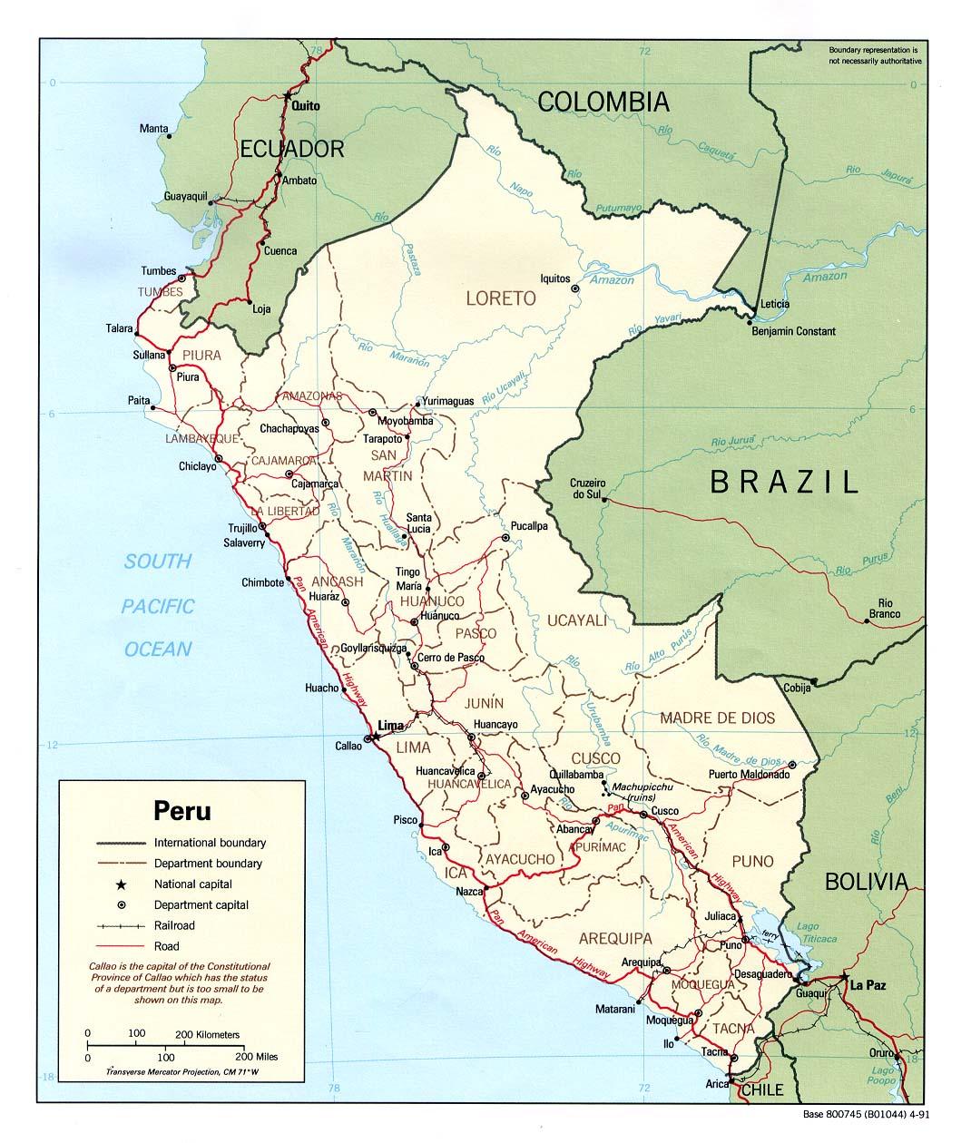 Mapa Político de Perú