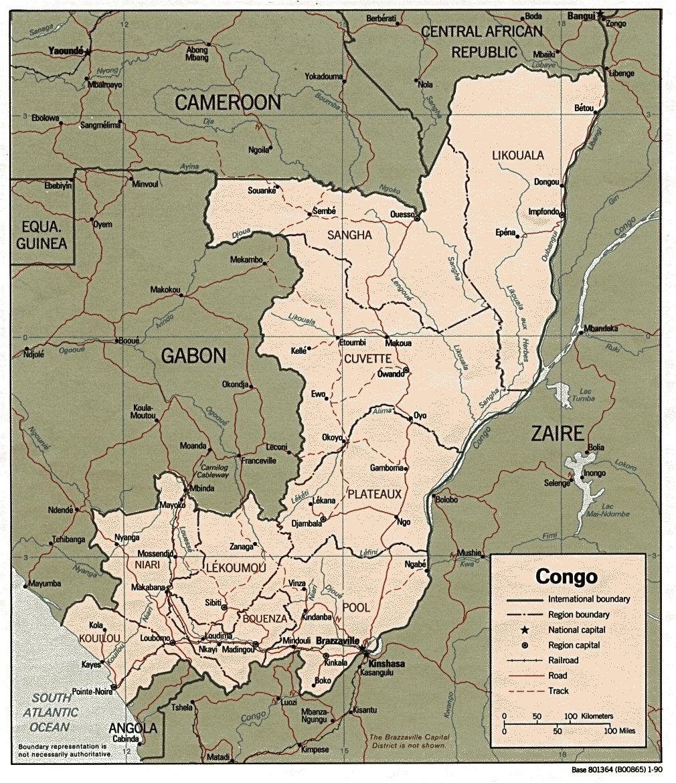 Mapa Politico de República del Congo