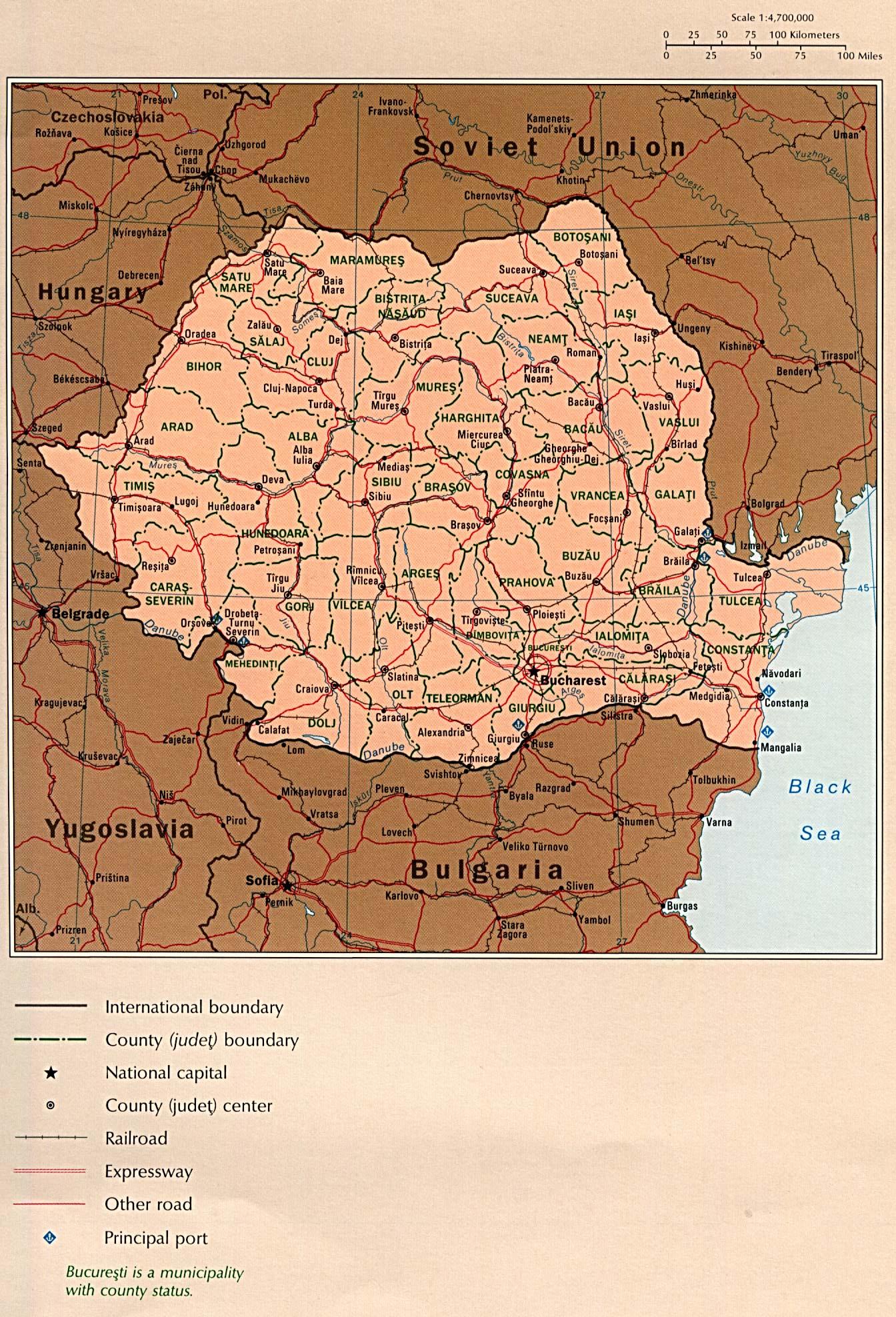 Mapa Politico de Rumania