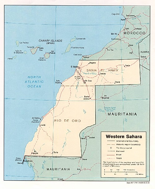 Mapa Politico de Sahara Occidental
