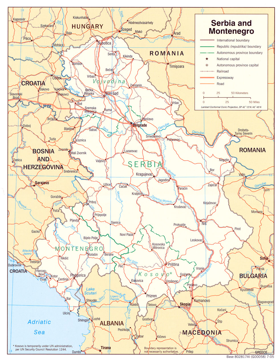 Serbia and Montenegro Political Map