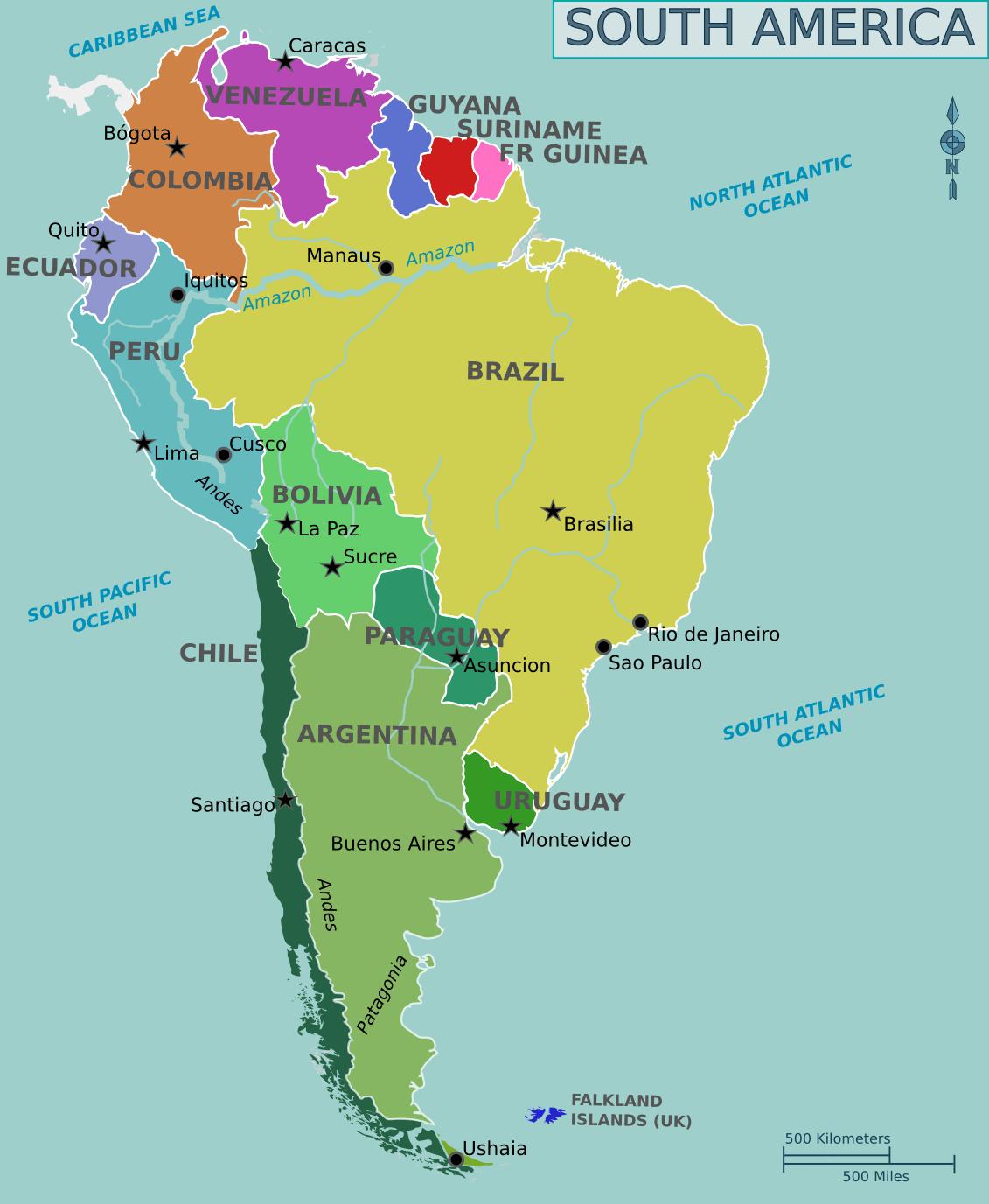 Mapa Político de Sudamérica