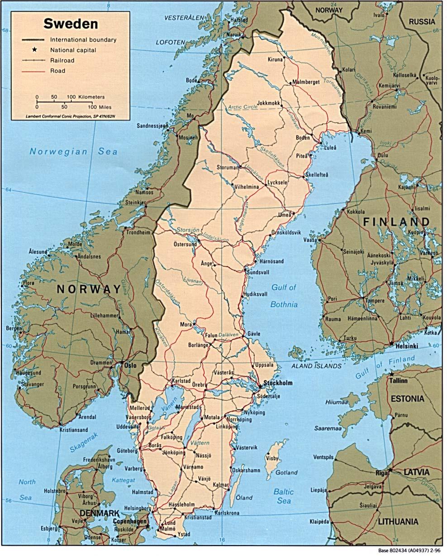 Mapa Politico de Suecia