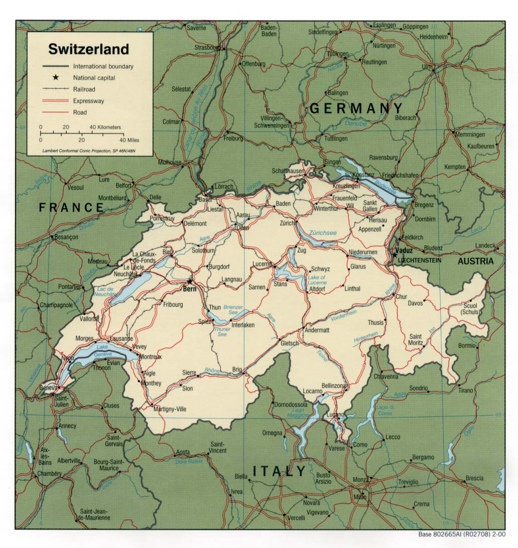 Europe Map Switzerland and Germany