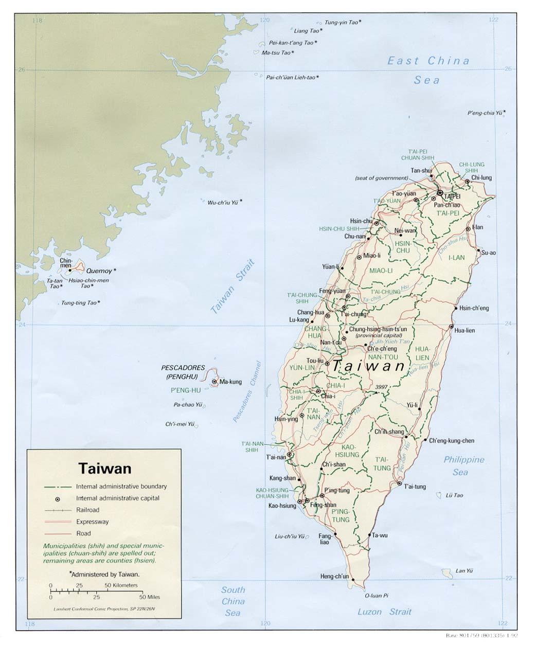 Mapa Politico de Taiwán