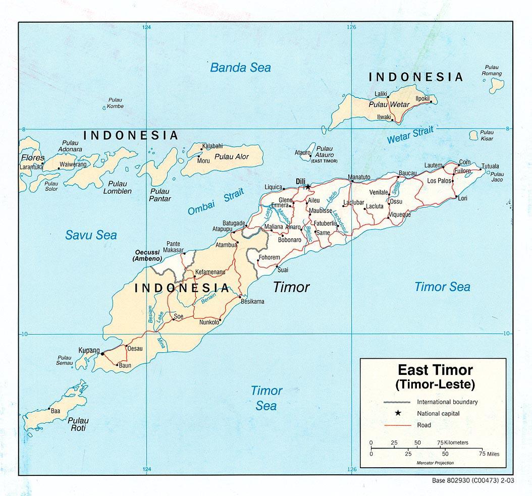 Mapa Politico de Timor Oriental