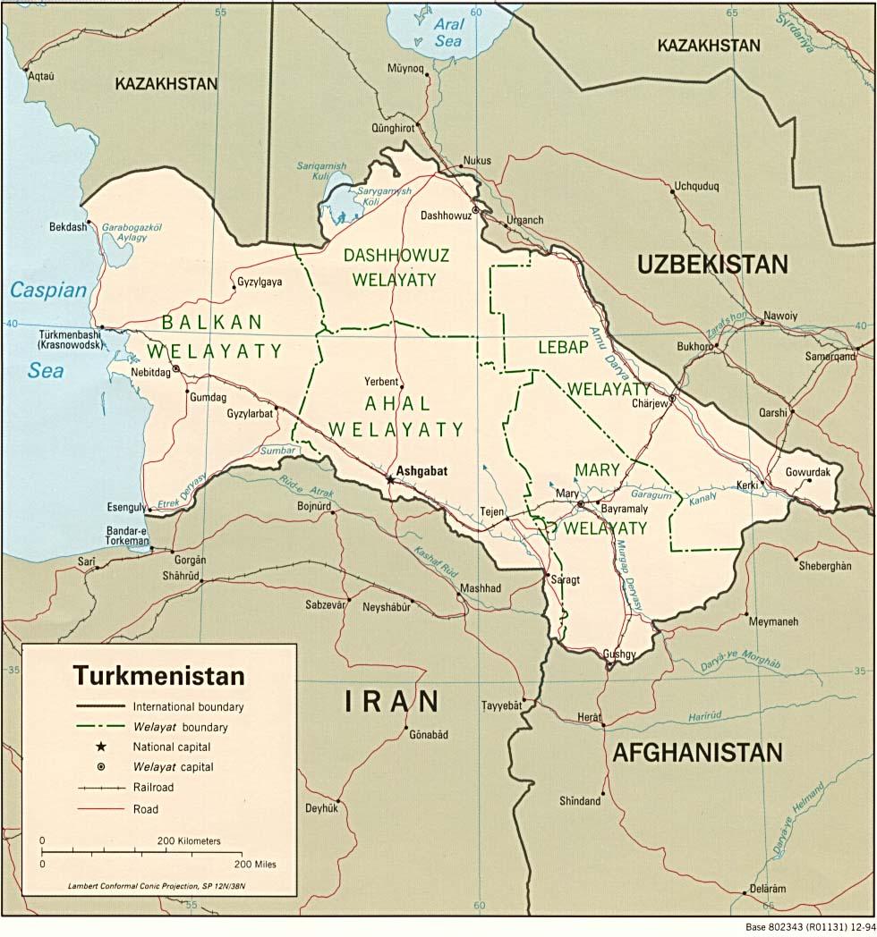 Mapa Politico de Turkmenistán