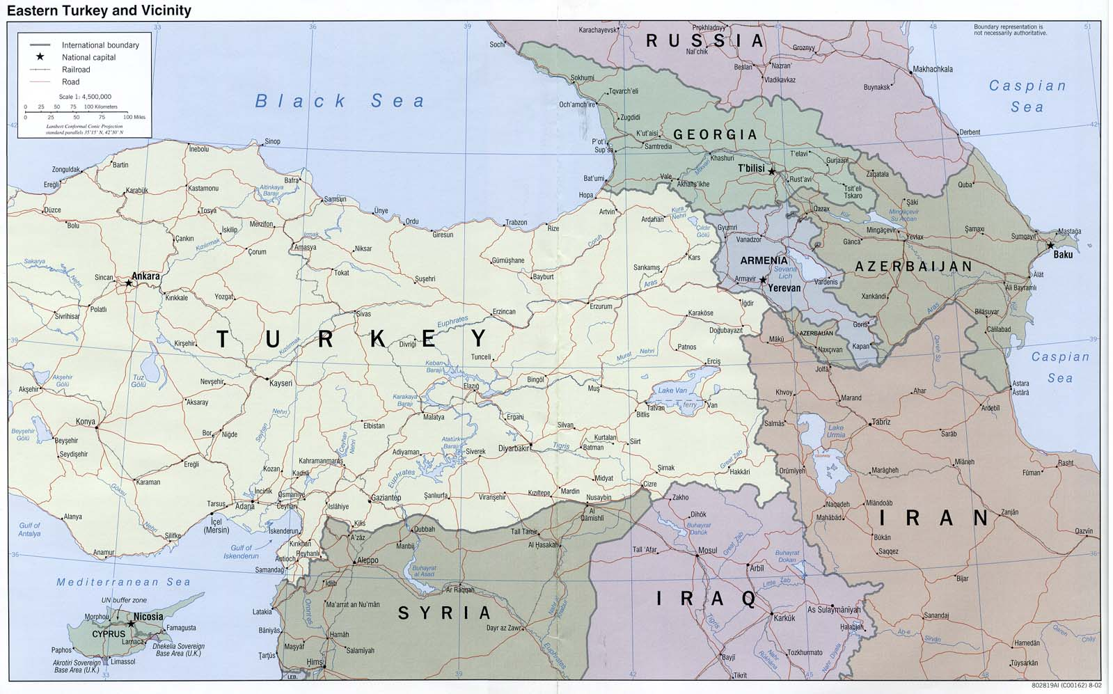 Eastern Turkey and Vicinity Political Map