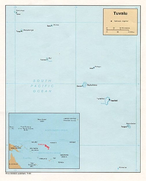 Mapa Politico de Tuvalu