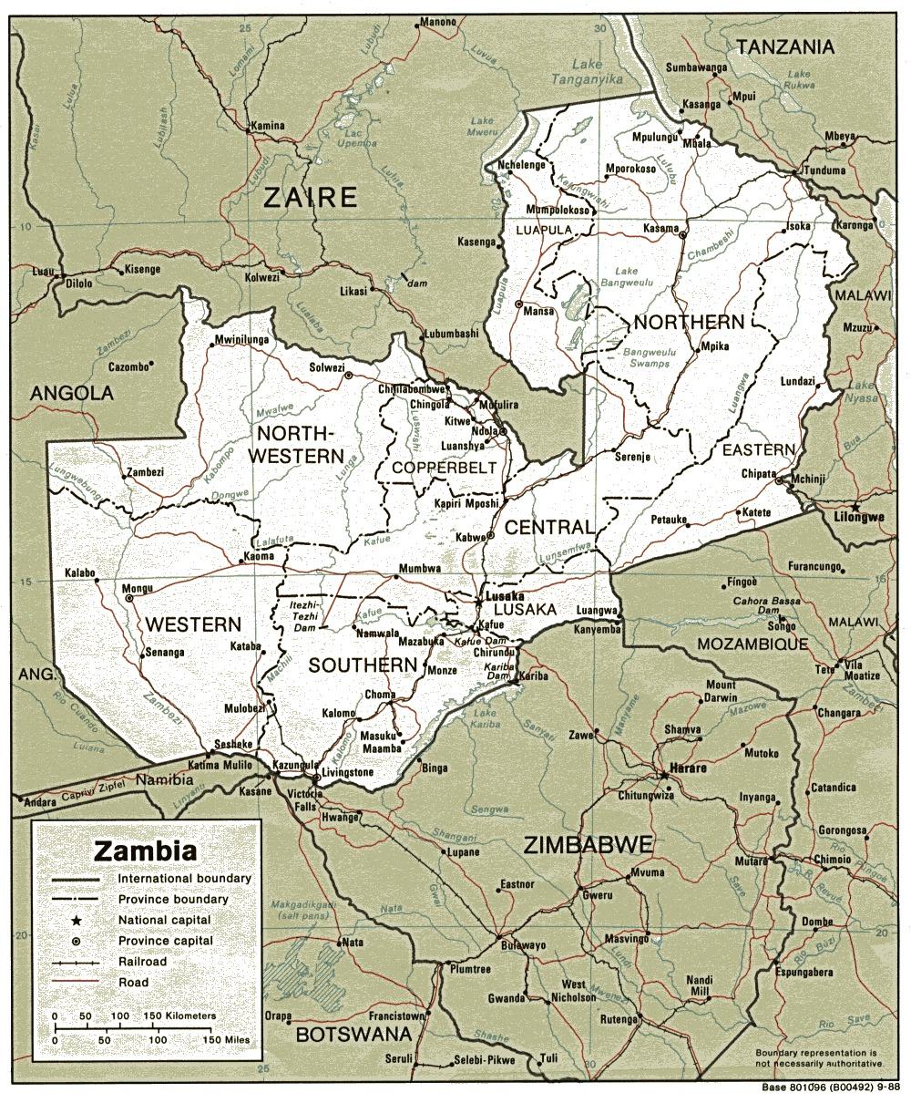 Mapa Politico de Zambia