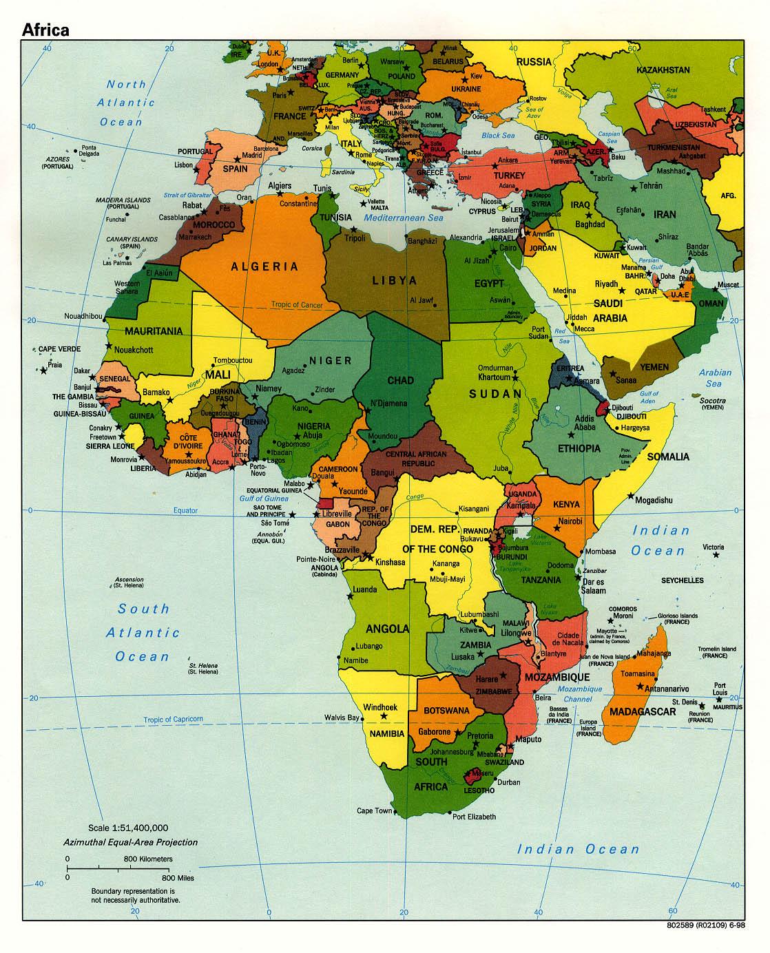 Mapa Politico de África 1998