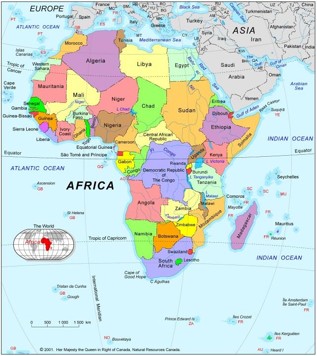 Africa Political Map 2001